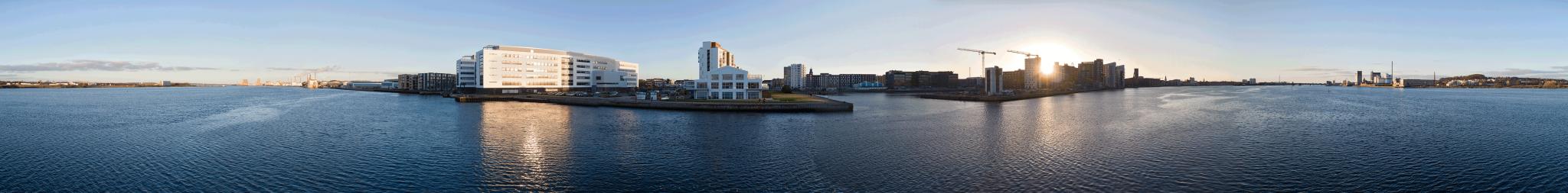 panorama foto af aalborg havnefront ved Beddingen. Af fotograf Jan Høst-Aaris / Sipureco PR og kommunikation i Nordjylland