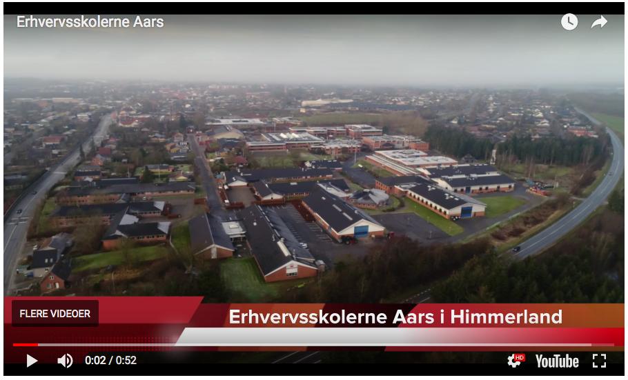 Skærmbillede af dronevideo om Erhvervsskolerne Aars i Nordjylland af kommunikationskonsulent og dronepilot Jan Høst-Aaris