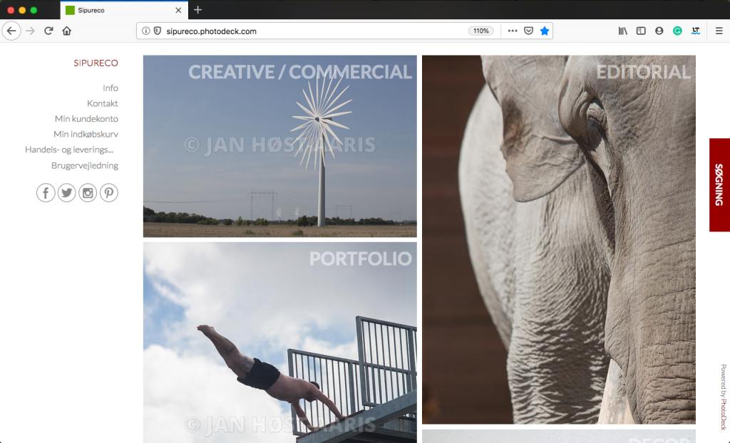 Skærmprint af Sipureco PR & kommunikations online billedarkiv med redaktionelle og kreative fotos af fotograf Jan Høst-Aaris i Vodskov ved Aalborg i Nordjylland