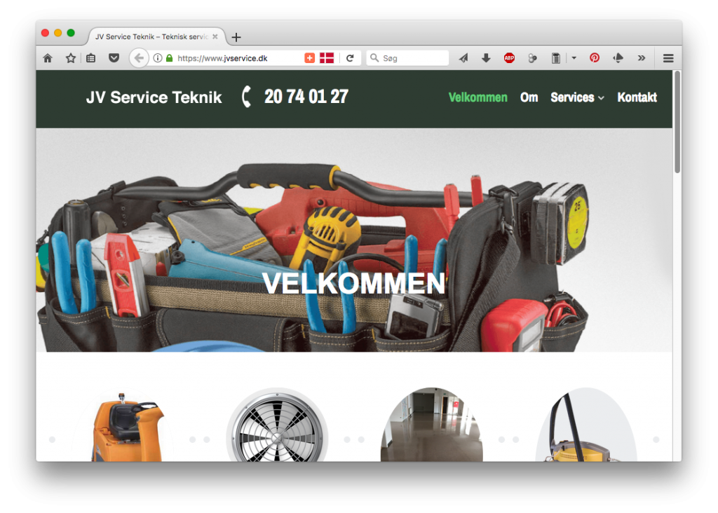 Skærmbillede af JV Service website på en computer.