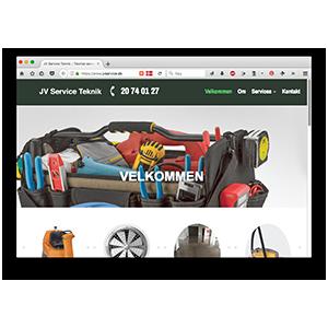 Sipureco hjælper JV Service med webdesign og online profilering.
