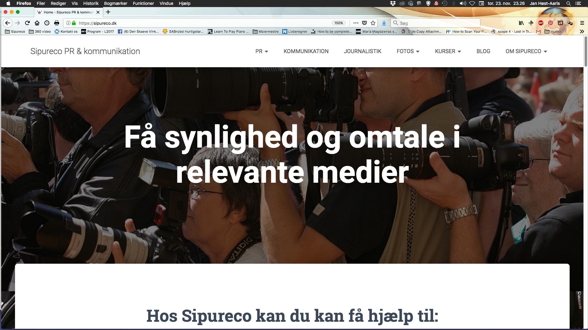 nyt og bedre webdesign og webkommunikation på Sipureco PR & kommunikations hjemmeside. Bureauet ligger i nær Aalborg i Nordjylland