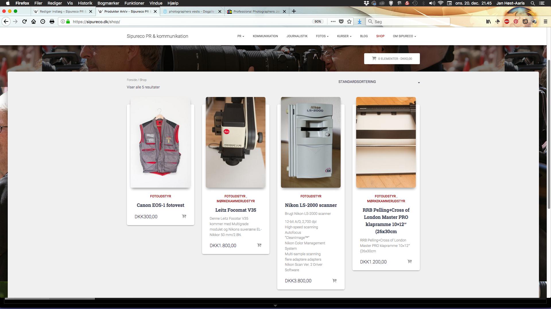 Skærmbillede af Sipurecos webshop
